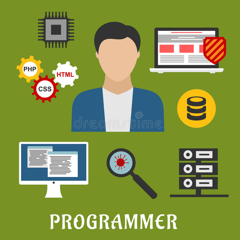 Επίπεδα εικονίδια προγραμματιστών και συσκευών ελεύθερη απεικόνιση δικαιώματος