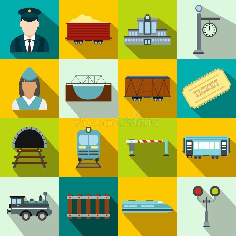Επίπεδα εικονίδια σιδηροδρόμου καθορισμένα ελεύθερη απεικόνιση δικαιώματος