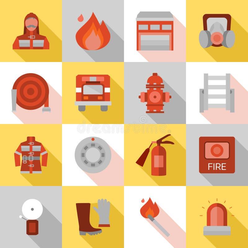 Επίπεδα εικονίδια σκιών πυροσβεστικών σταθμών μακροχρόνια απεικόνιση αποθεμάτων
