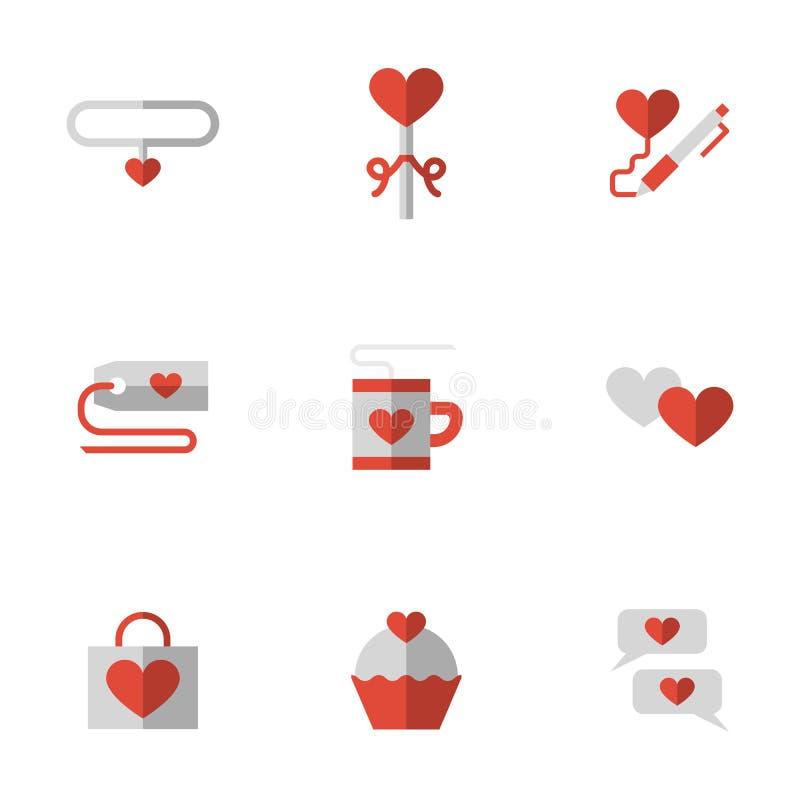 Επίπεδα εικονίδια σχέσης αγάπης χρώματος απεικόνιση αποθεμάτων
