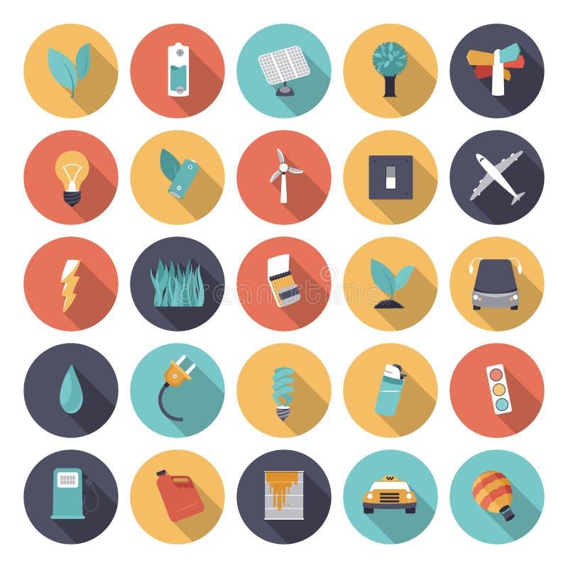Επίπεδα εικονίδια σχεδίου για την ενέργεια ελεύθερη απεικόνιση δικαιώματος