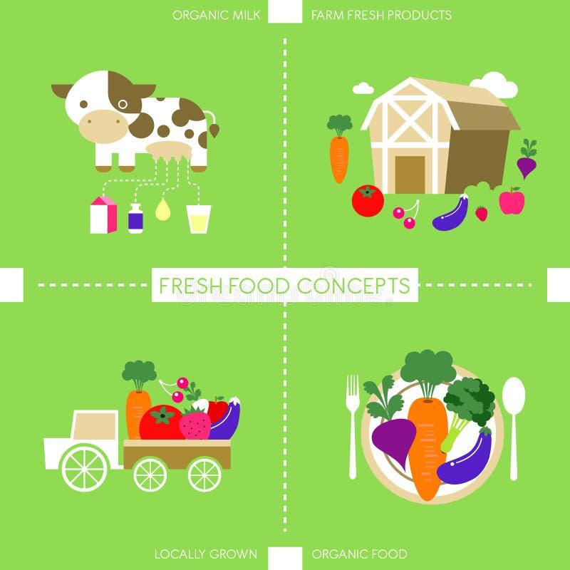 Επίπεδα εικονίδια σχεδίου για τη οργανική τροφή και το ποτό διανυσματική απεικόνιση