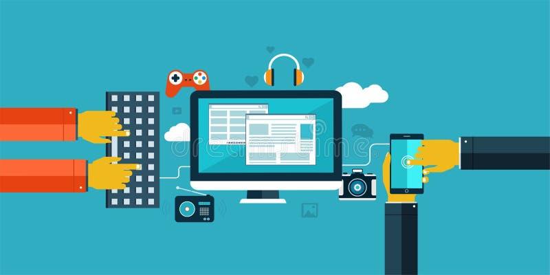 Επίπεδα εικονίδια σχεδίου για τον Ιστό και κινητός ελεύθερη απεικόνιση δικαιώματος