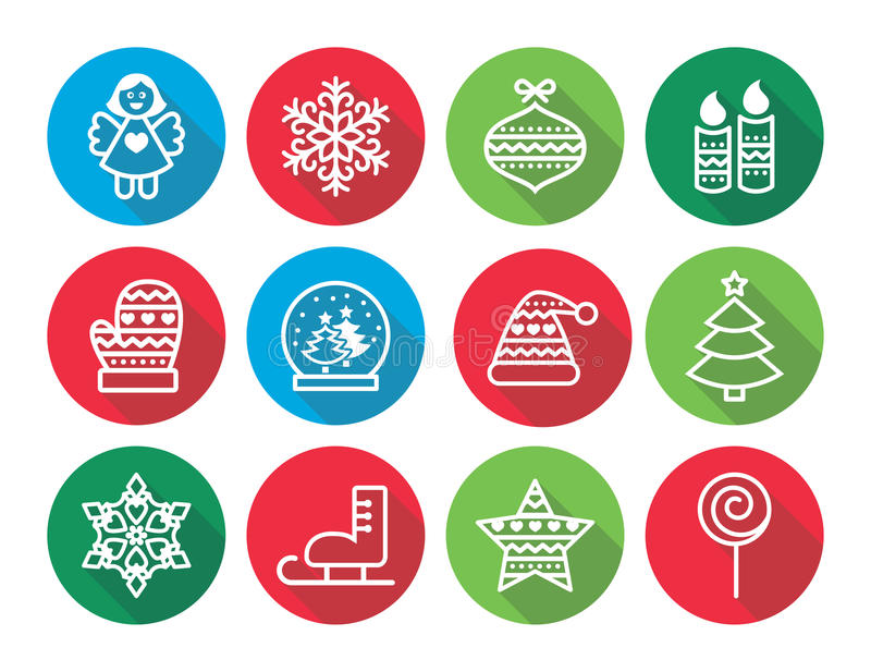 Επίπεδα εικονίδια σχεδίου Χριστουγέννων - χριστουγεννιάτικο δέντρο, άγγελος, snowflake ελεύθερη απεικόνιση δικαιώματος