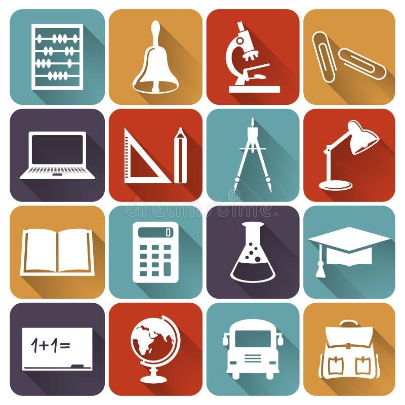 Επίπεδα εικονίδια σχολείου και εκπαίδευσης πολικό καθορισμένο διάνυσμα καρδιών κινούμενων σχεδίων διανυσματική απεικόνιση