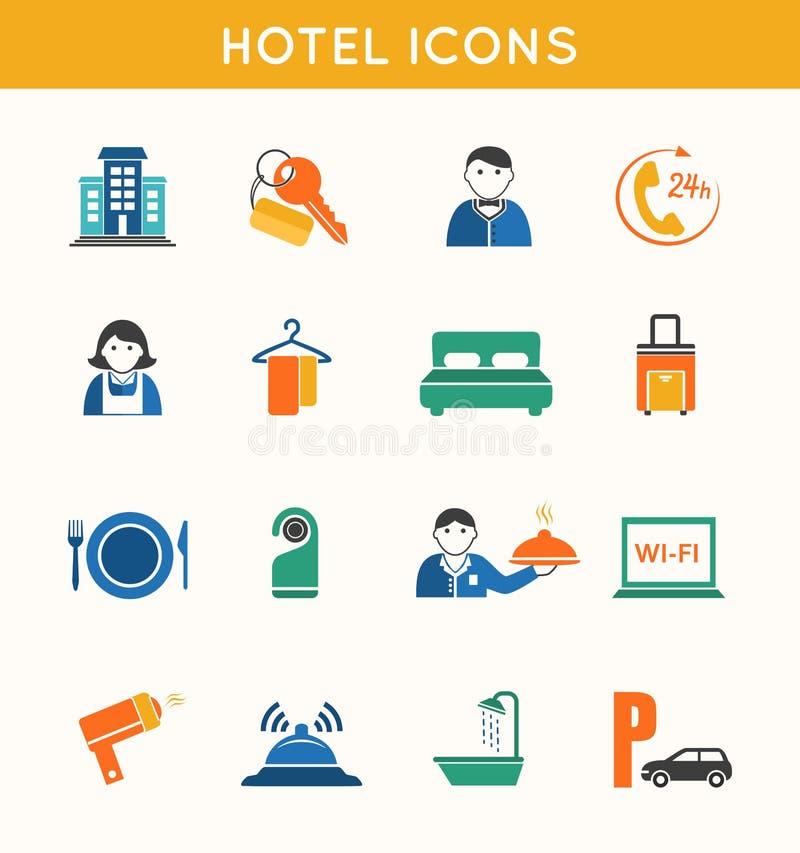 Επίπεδα εικονίδια ταξιδιού ξενοδοχείων καθορισμένα ελεύθερη απεικόνιση δικαιώματος