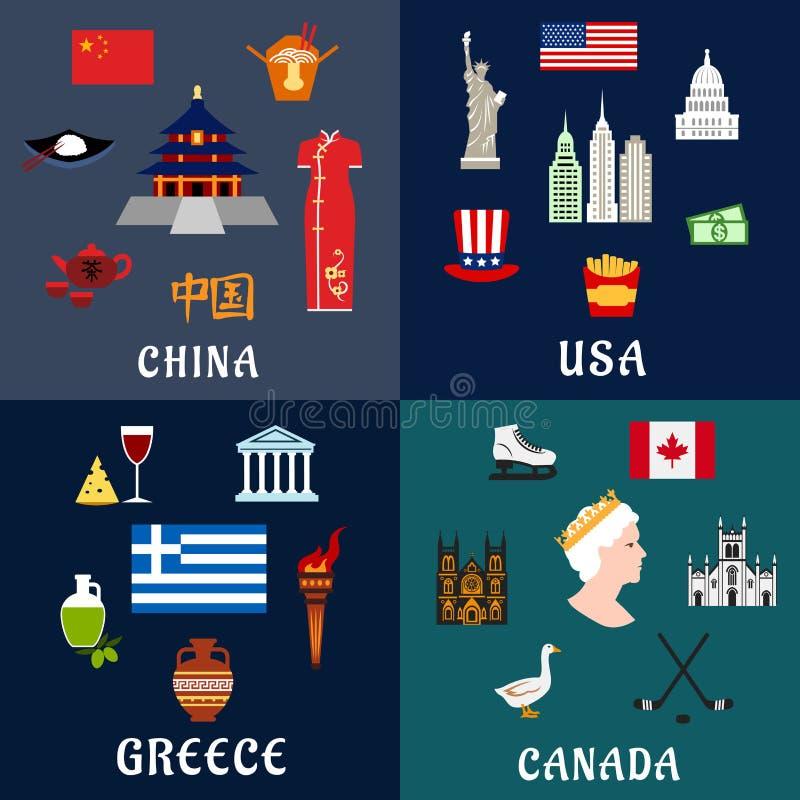 Επίπεδα εικονίδια ταξιδιού των ΗΠΑ, της Κίνας, της Ελλάδας και του Καναδά απεικόνιση αποθεμάτων