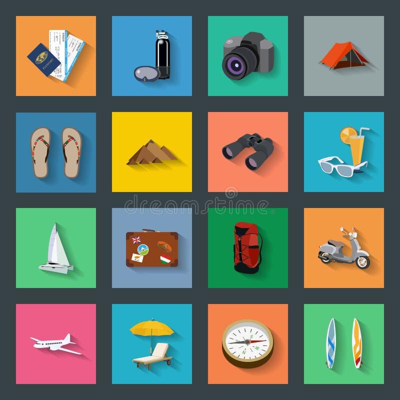 Επίπεδα εικονίδια τουρισμού καθορισμένα ελεύθερη απεικόνιση δικαιώματος