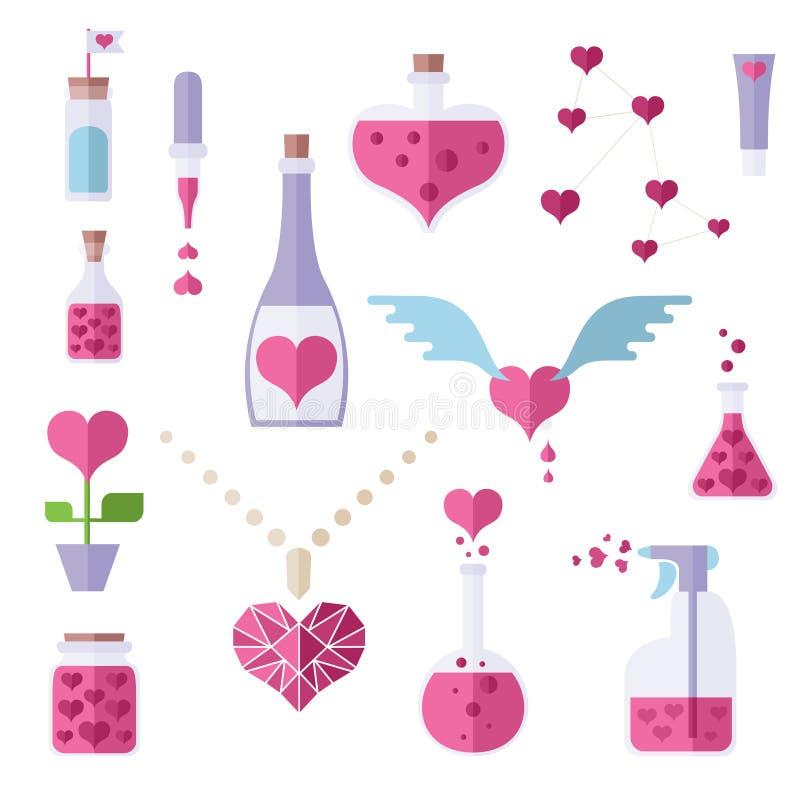 Επίπεδα εικονίδια του θέματος χημείας αγάπης απεικόνιση αποθεμάτων