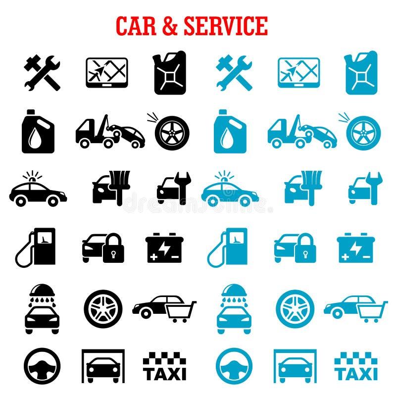 Επίπεδα εικονίδια υπηρεσιών μεταφορών και αυτοκινήτων διανυσματική απεικόνιση