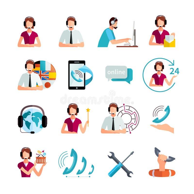 Επίπεδα εικονίδια υπηρεσιών υποστήριξης πελατών καθορισμένα ελεύθερη απεικόνιση δικαιώματος
