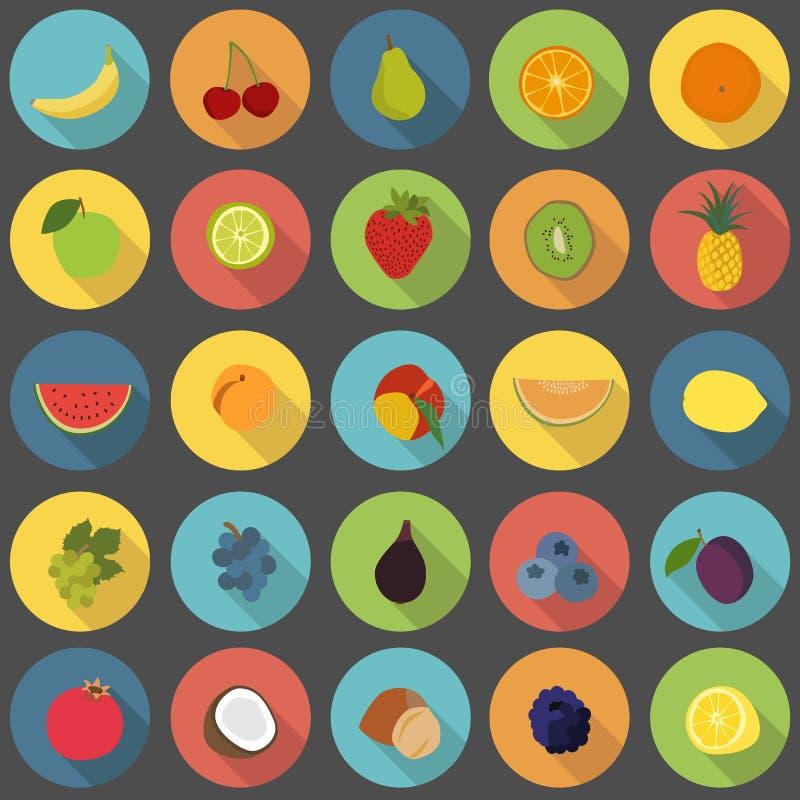 Επίπεδα εικονίδια φρούτων καθορισμένα απεικόνιση αποθεμάτων