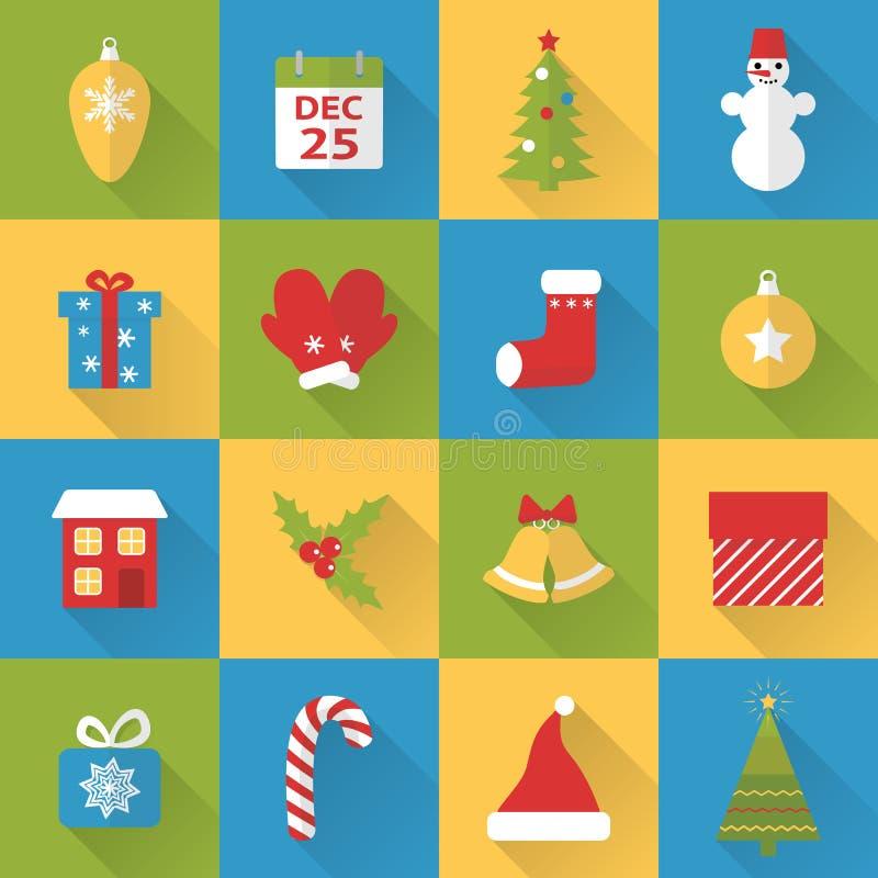Επίπεδα εικονίδια Χριστουγέννων καθορισμένα ελεύθερη απεικόνιση δικαιώματος