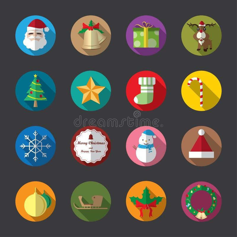 Επίπεδα εικονίδια Χριστουγέννων, χρώμα απεικόνιση αποθεμάτων