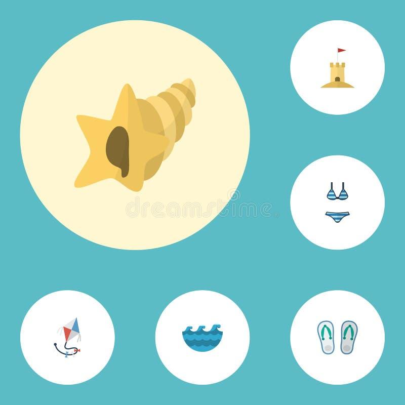 Επίπεδα εικονίδια Beachwear, Shell, Castle και άλλα διανυσματικά στοιχεία Το σύνολο συμβόλων θερινών επίπεδων εικονιδίων περιλαμβ ελεύθερη απεικόνιση δικαιώματος