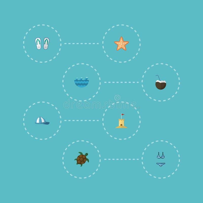 Επίπεδα εικονίδια Cocos, Beachwear, Tortoise και άλλα διανυσματικά στοιχεία Το σύνολο επίπεδων συμβόλων εικονιδίων παραλιών περιλ ελεύθερη απεικόνιση δικαιώματος