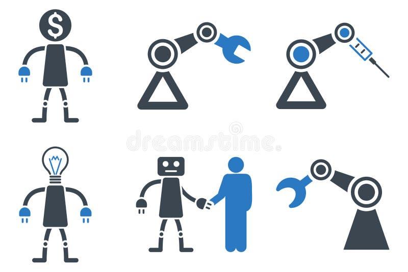 Επίπεδα εικονίδια Glyph ρομπότ διανυσματική απεικόνιση