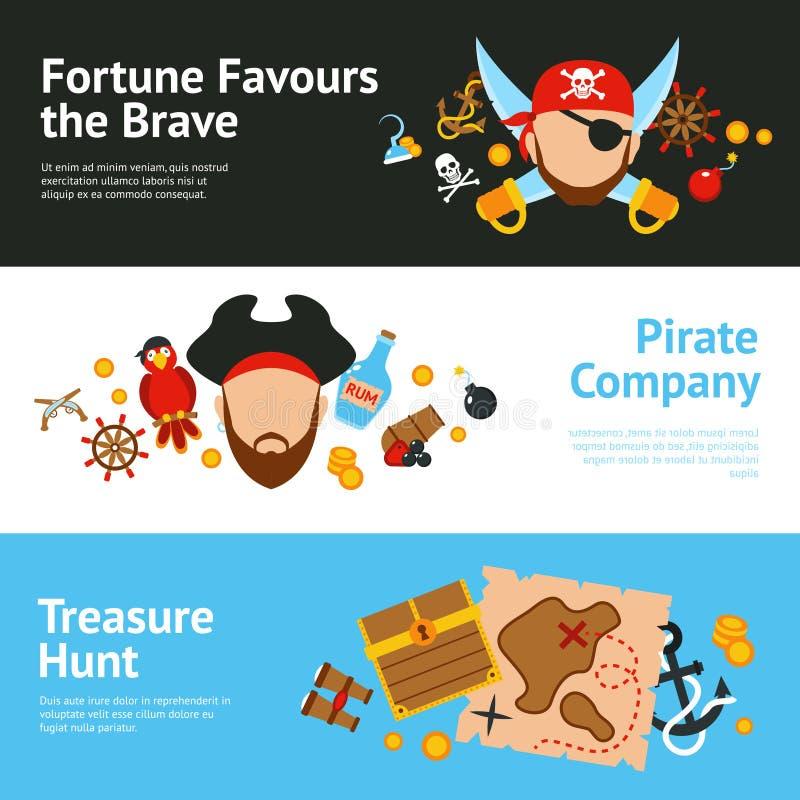 Επίπεδα εμβλήματα έννοιας πειρατών καθορισμένα απεικόνιση αποθεμάτων