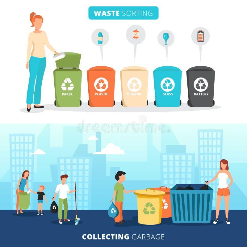 Επίπεδα εμβλήματα ανακύκλωσης αποβλήτων ταξινομώντας καθορισμένα ελεύθερη απεικόνιση δικαιώματος
