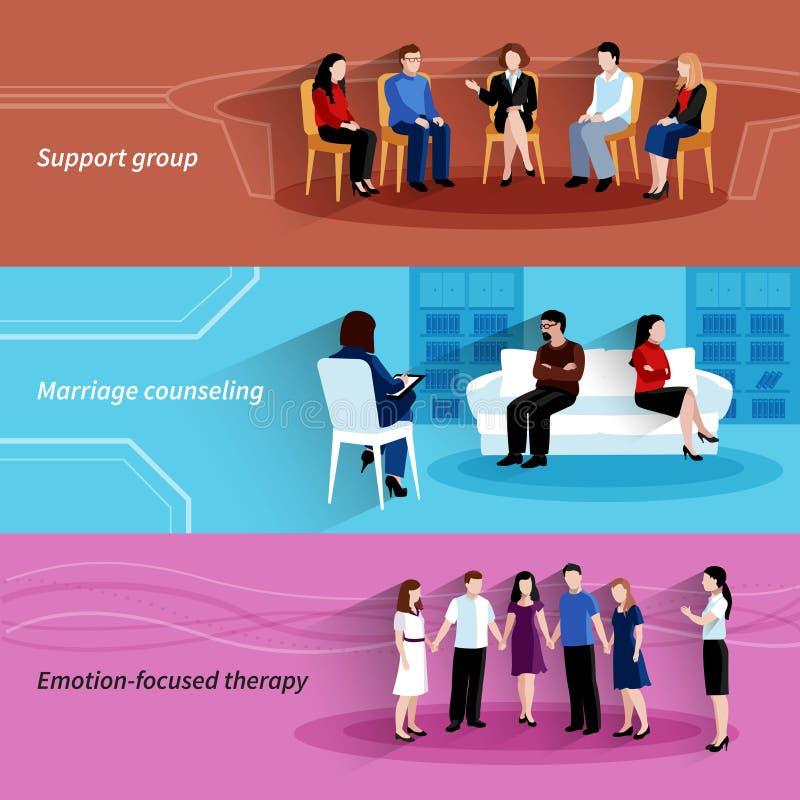 Επίπεδα εμβλήματα θεραπείας παροχής συμβουλών σχέσης καθορισμένα ελεύθερη απεικόνιση δικαιώματος