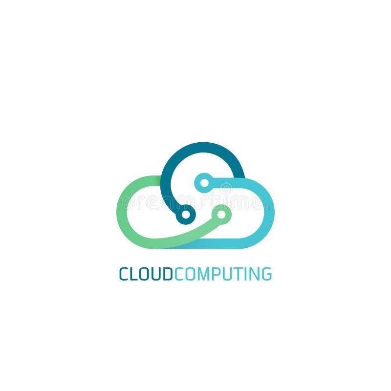 Επίπεδα εμβλήματα Ιστού σχεδίου γραμμών για τις υπολογίζοντας υπηρεσίες και την τεχνολογία σύννεφων διανυσματική απεικόνιση