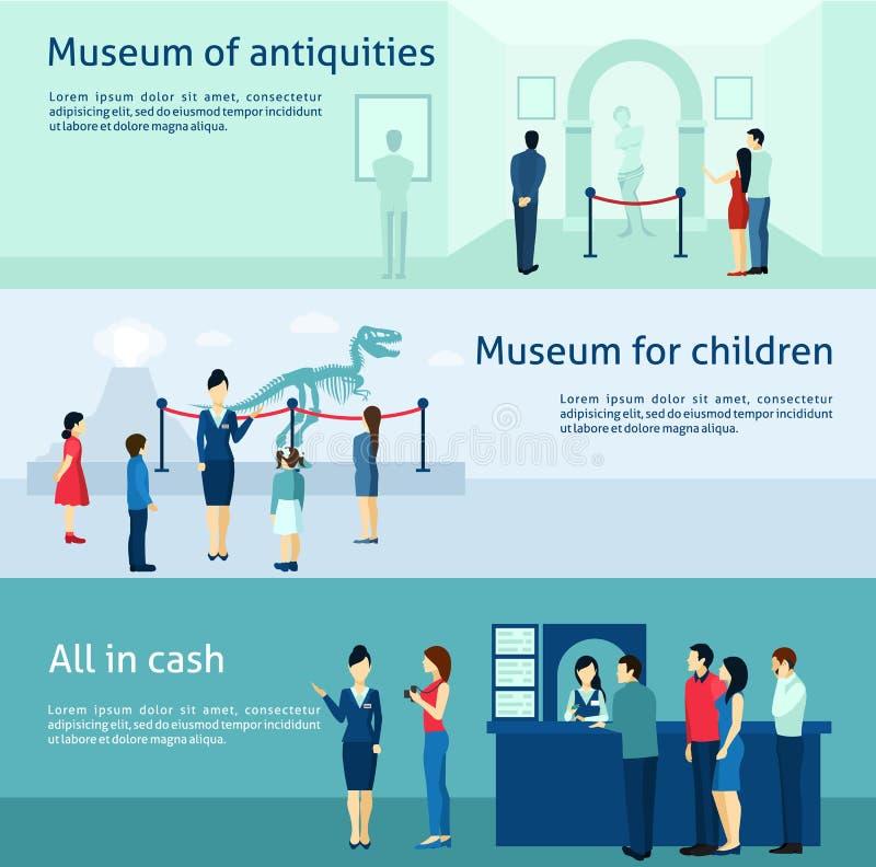 Επίπεδα εμβλήματα μουσείων αρχαιότητας Archeological καθορισμένα απεικόνιση αποθεμάτων