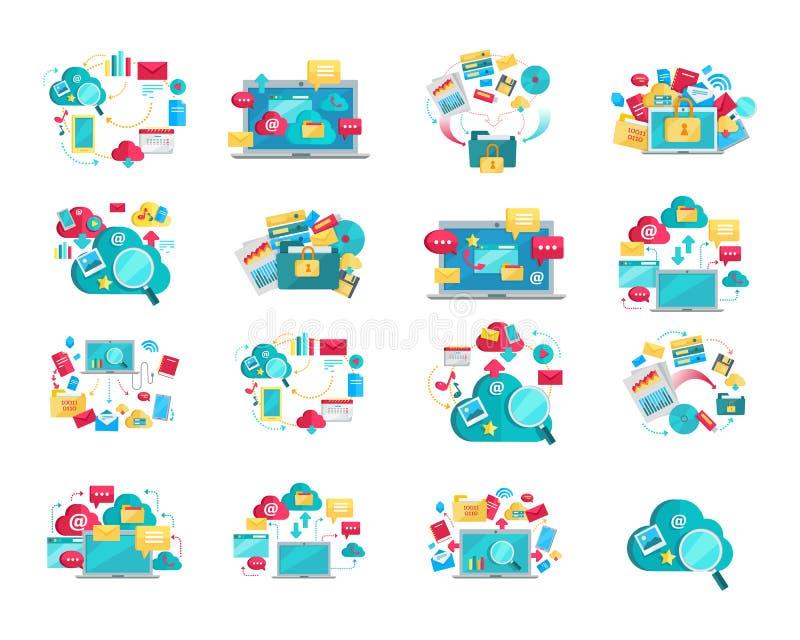 Επίπεδα εμβλήματα σχεδίου έννοιας που τίθενται για τα ψηφιακά στοιχεία διανυσματική απεικόνιση