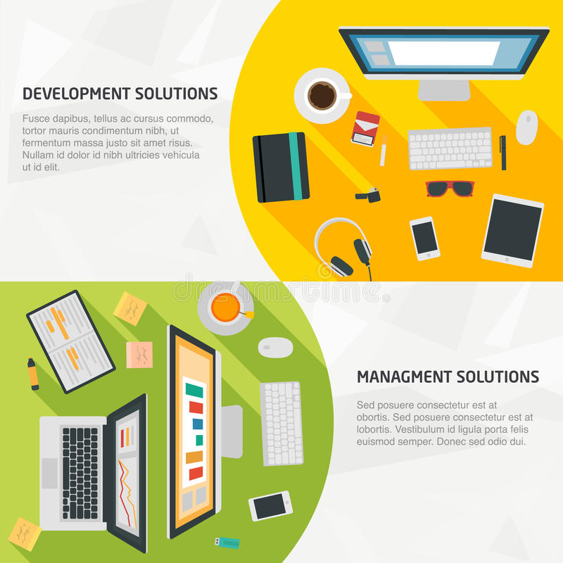 Επίπεδα εμβλήματα σχεδίου για την επιχείρηση και την ανάπτυξη ελεύθερη απεικόνιση δικαιώματος