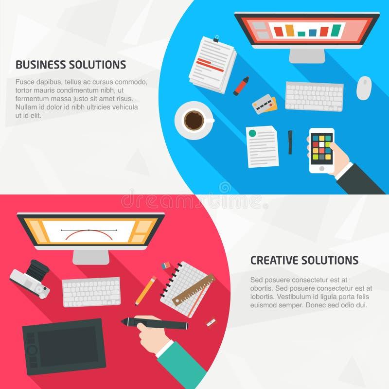 Επίπεδα εμβλήματα σχεδίου για την επιχείρηση και τη δημιουργικότητα διανυσματική απεικόνιση
