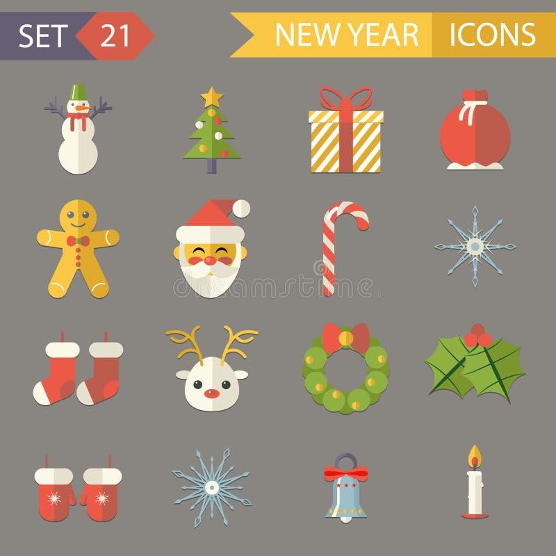 Επίπεδα εξαρτήματα Χριστουγέννων συμβόλων έτους σχεδίου νέα ελεύθερη απεικόνιση δικαιώματος