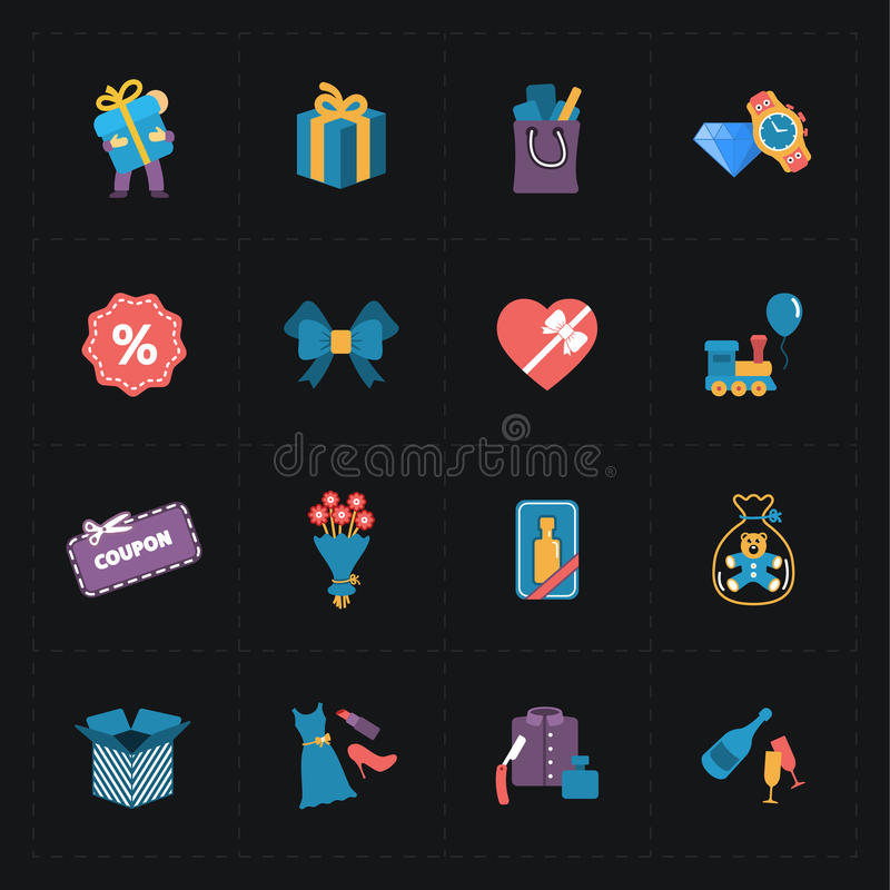 Επίπεδα ζωηρόχρωμα εικονίδια καταστημάτων δώρων στο Μαύρο ελεύθερη απεικόνιση δικαιώματος