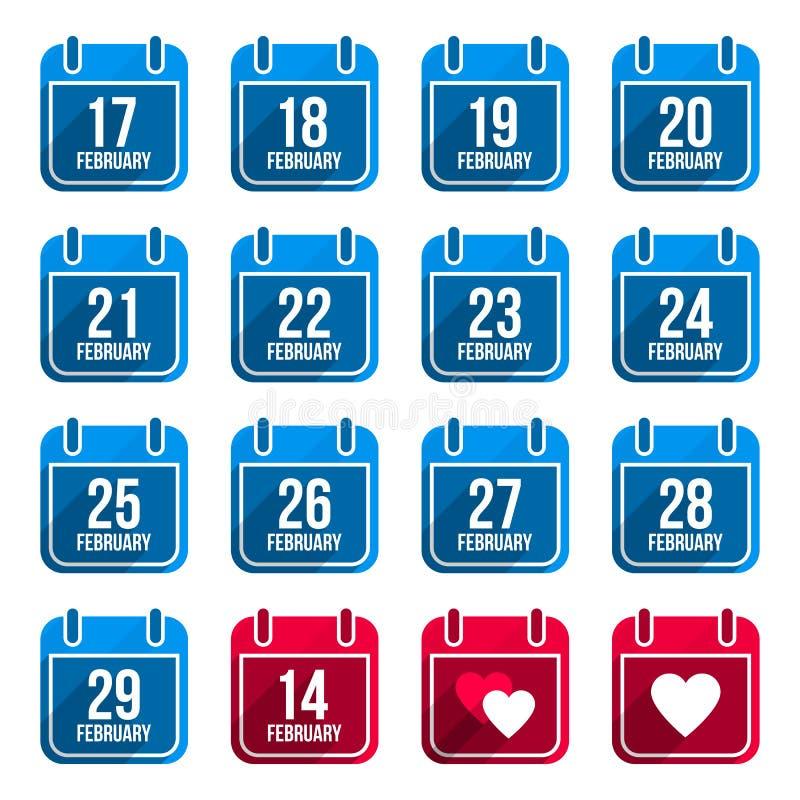 Επίπεδα ημερολογιακά εικονίδια Φεβρουαρίου με πολύ απεικόνιση αποθεμάτων