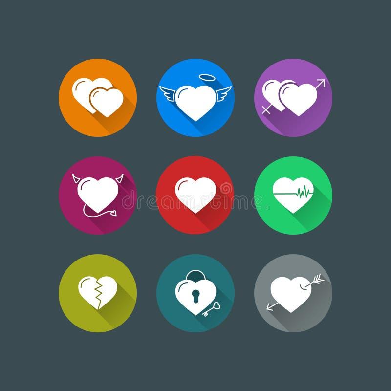 Επίπεδα διανυσματικά εικονίδια καρδιών διανυσματική απεικόνιση
