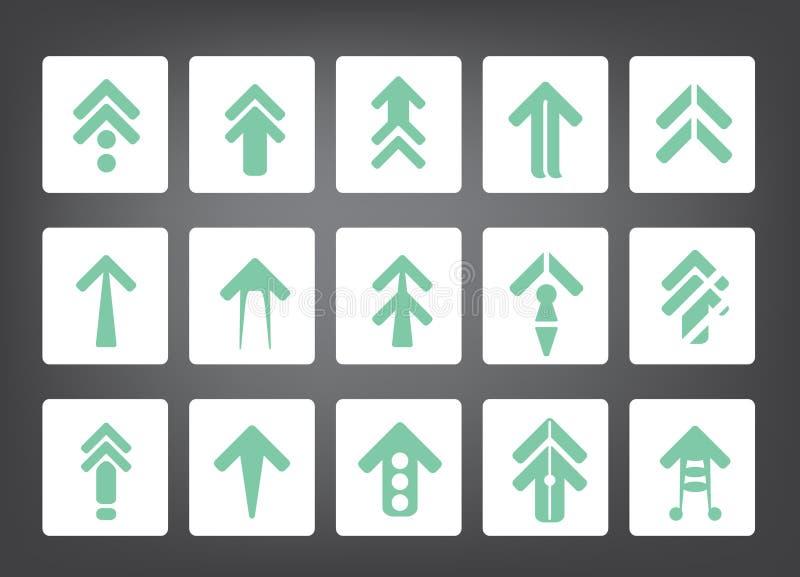 Επίπεδα διανυσματικά εικονίδια σημαδιών βελών απεικόνιση αποθεμάτων