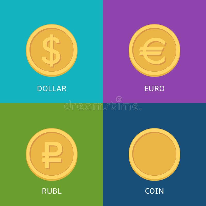Επίπεδα διανυσματικά εικονίδια χρημάτων ελεύθερη απεικόνιση δικαιώματος
