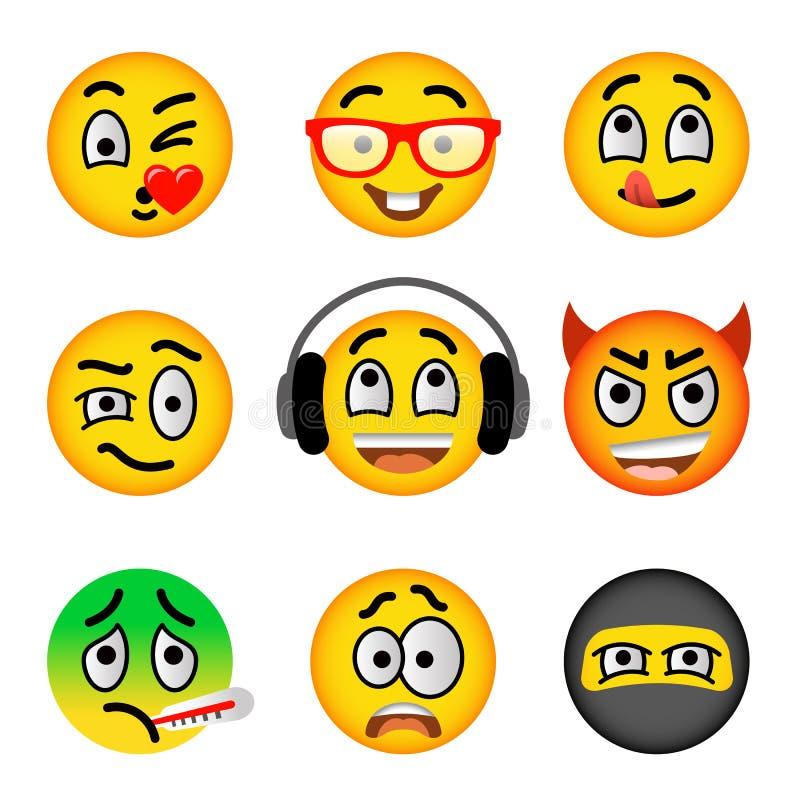 Επίπεδα διανυσματικά εικονίδια emoji προσώπου Smiley καθορισμένα ελεύθερη απεικόνιση δικαιώματος