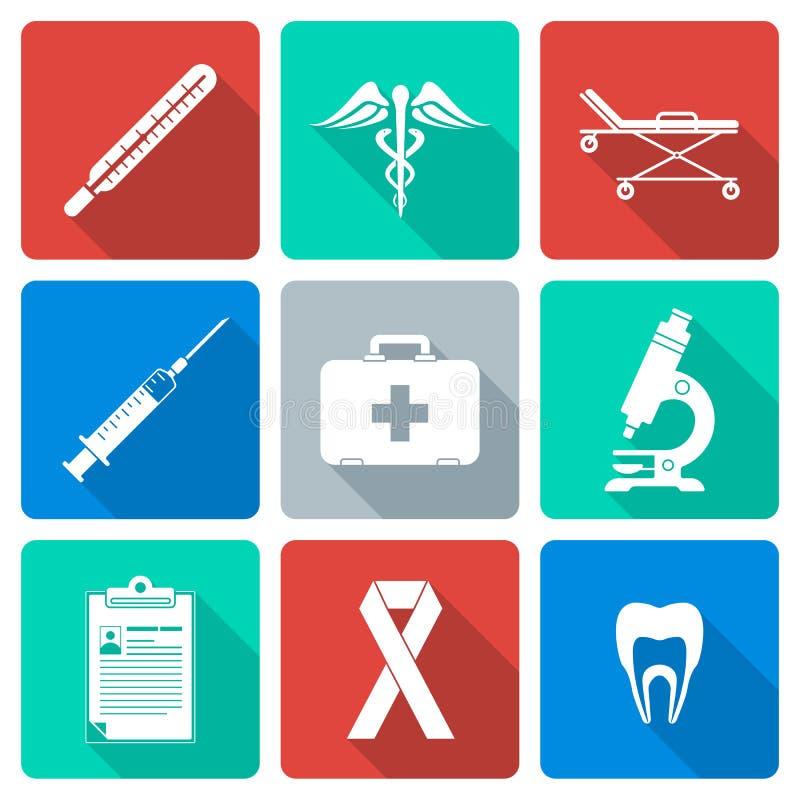 Επίπεδα ιατρικά εικονίδια σκιαγραφιών σχεδίου άσπρα καθορισμένα απεικόνιση αποθεμάτων
