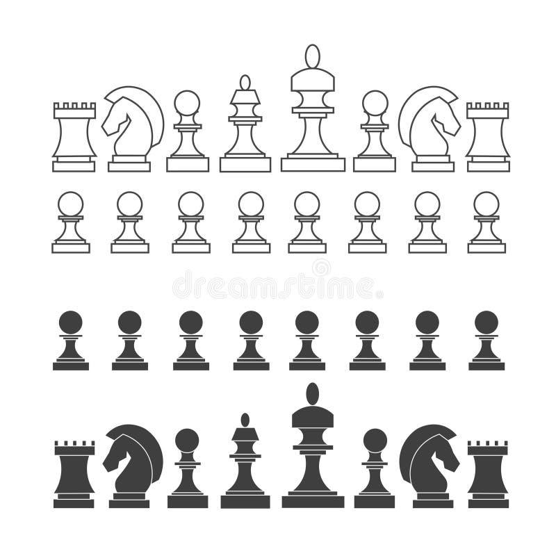 Επίπεδα και λεπτά κομμάτια σκακιού γραμμών καθορισμένα διάνυσμα ελεύθερη απεικόνιση δικαιώματος