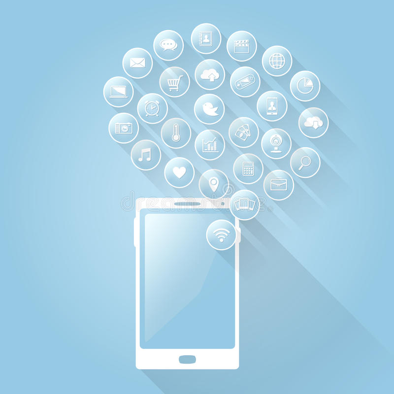 Επίπεδα κινητά apps εικονιδίων με τη μακριά σκιά ελεύθερη απεικόνιση δικαιώματος