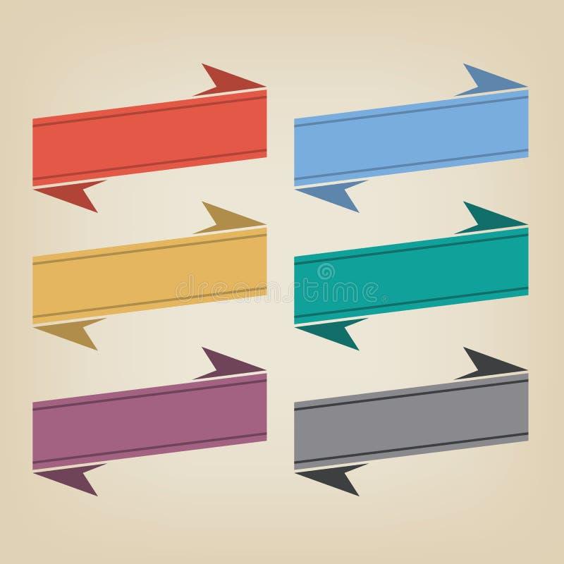 Επίπεδα κορδέλλες και διακριτικά χρώματος διανυσματική απεικόνιση