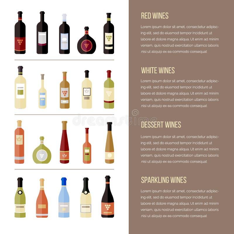 επίπεδα μπουκάλια κρασιού Διαφορετικά είδη κρασιού Πρότυπο για την περιοχή, επιλογές, infographics ελεύθερη απεικόνιση δικαιώματος