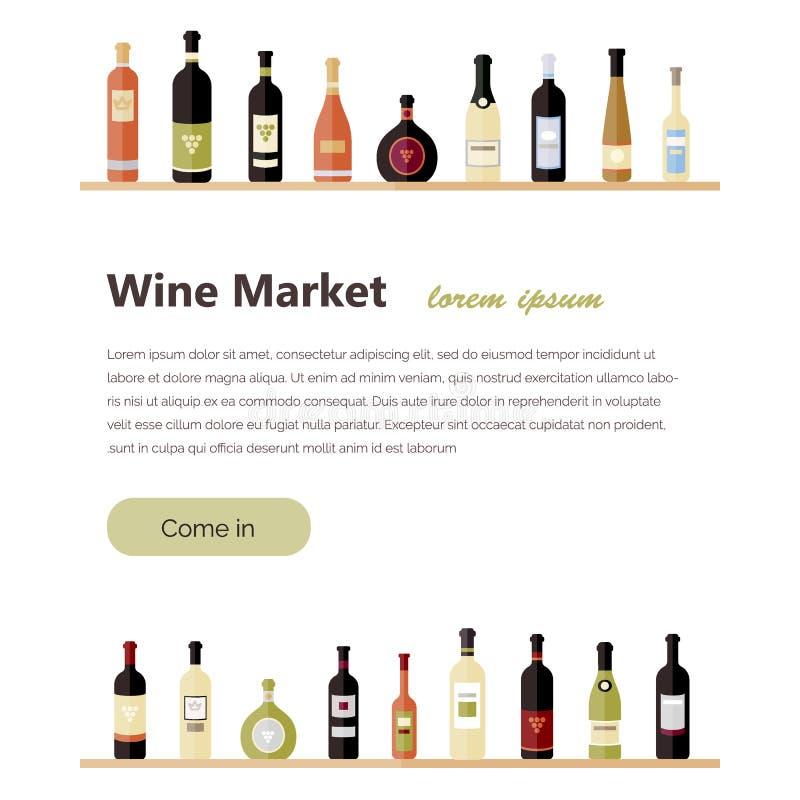 επίπεδα μπουκάλια κρασιού Διαφορετικά είδη μπουκαλιών κρασιού Στοιχεία σχεδίου για τα εμβλήματα, αγορές κρασιού, οινόπνευμα που δ διανυσματική απεικόνιση
