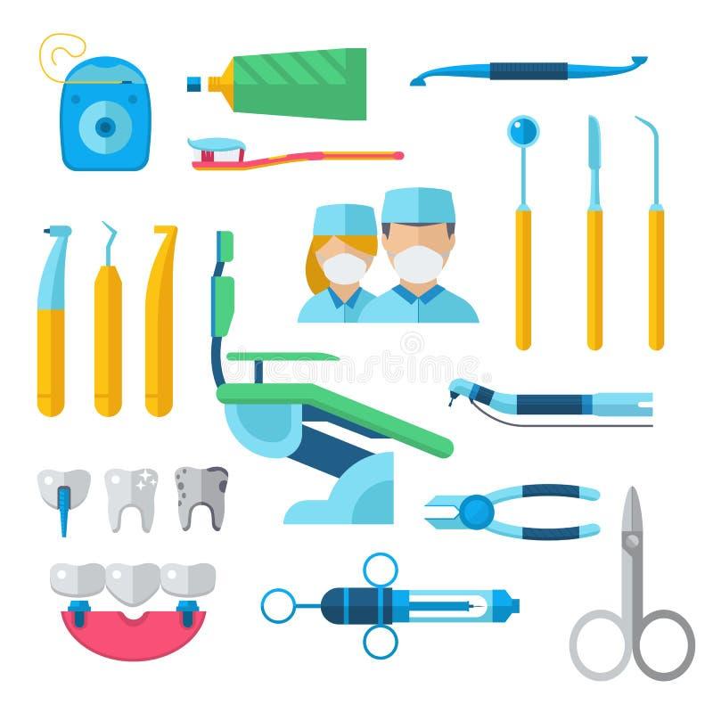 Επίπεδα οδοντικά όργανα καθορισμένα την έννοια εργαλείων οδοντιάτρων τη διανυσματική απεικόνιση ελεύθερη απεικόνιση δικαιώματος