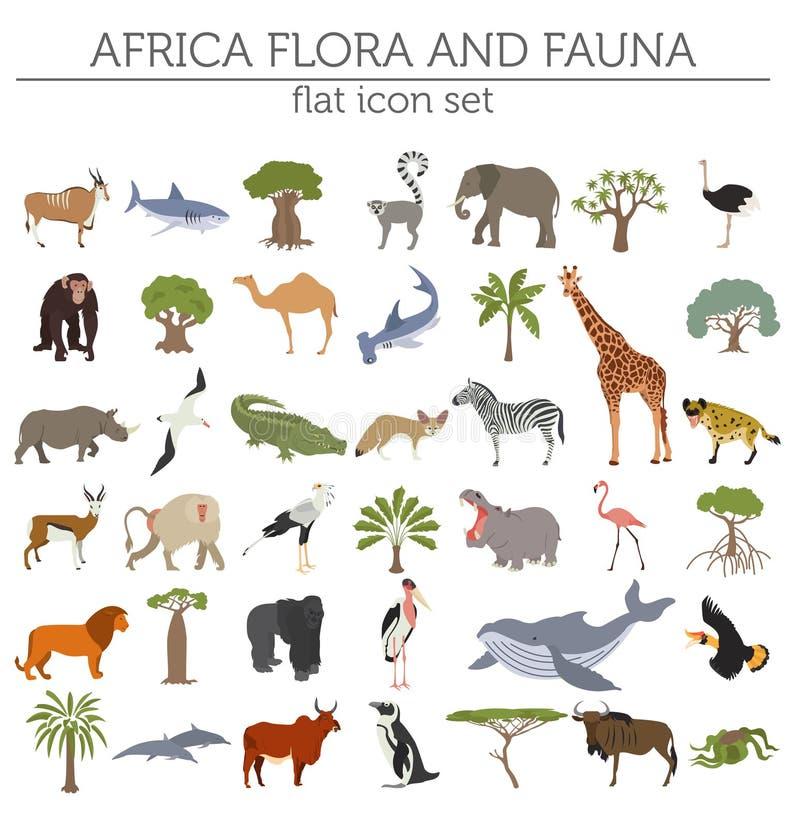 Επίπεδα στοιχεία κατασκευαστών χαρτών χλωρίδας και πανίδας της Αφρικής Ζώα, β διανυσματική απεικόνιση