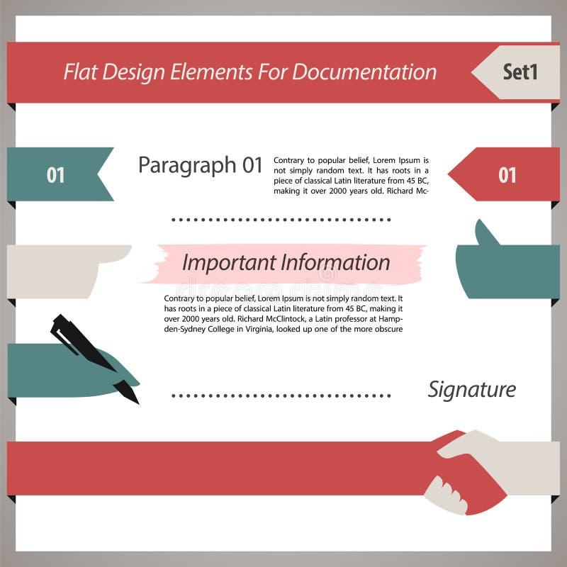 Επίπεδα στοιχεία σχεδίου για την τεκμηρίωση Set1 διανυσματική απεικόνιση