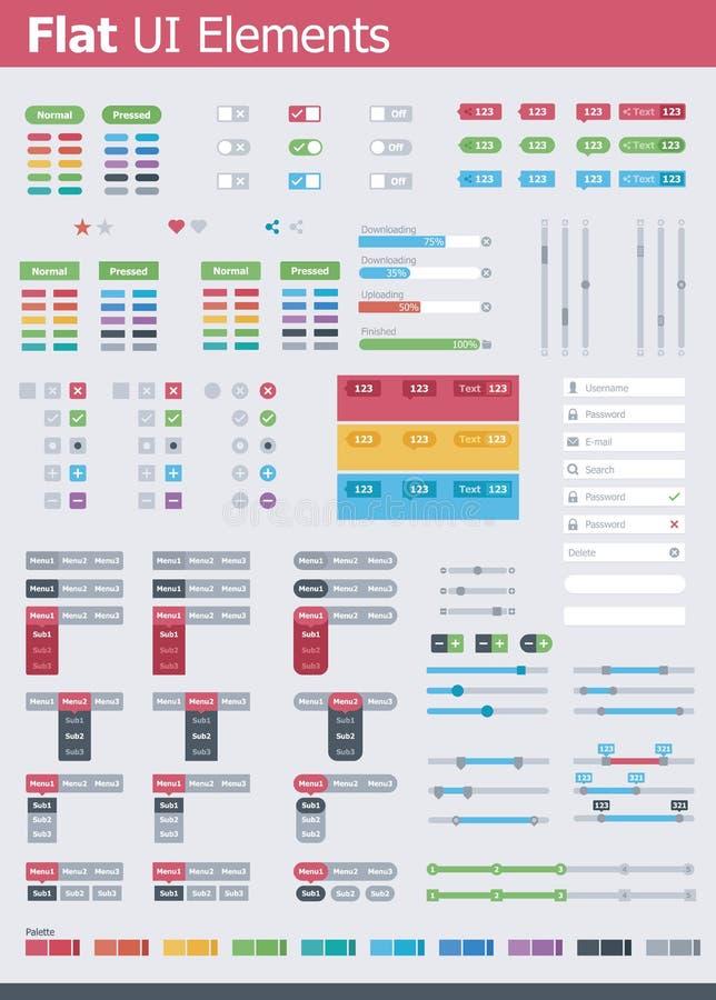 Επίπεδα στοιχεία UI διανυσματική απεικόνιση