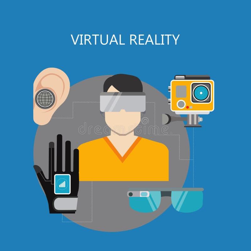 Επίπεδα σχέδια εικονικής πραγματικότητας ελεύθερη απεικόνιση δικαιώματος