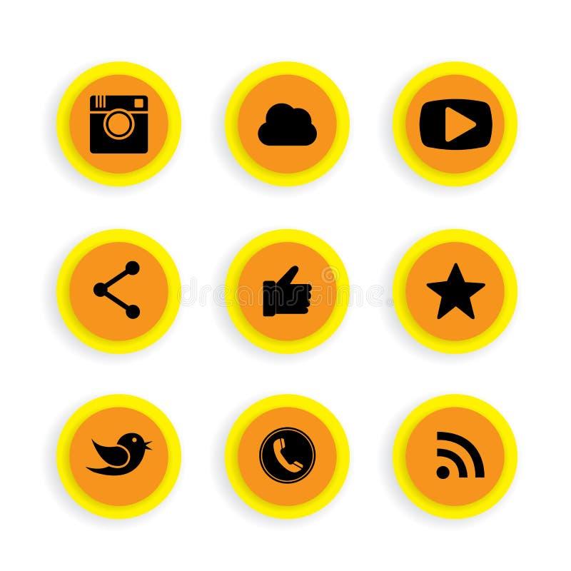 Επίπεδα σχέδια κουμπιών της κάμερας, όπως, πουλί αγγελιοφόρων, τηλεφωνικό recei ελεύθερη απεικόνιση δικαιώματος