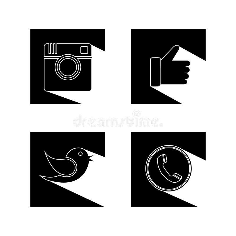 Επίπεδα σχέδια της κάμερας, όπως, του πουλιού και του ακουστικού τηλεφώνου - soci διανυσματική απεικόνιση