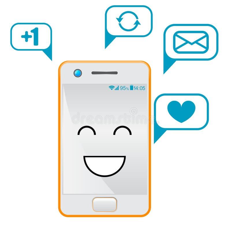 Επίπεδα σχέδια Smartphone με τα χαριτωμένα πρόσωπα και τα μασάζ κινούμενων σχεδίων απεικόνιση αποθεμάτων